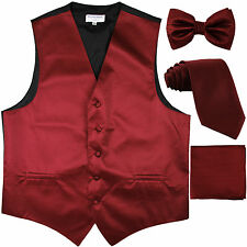New Men's striped Tuxedo Vest Waistcoat & necktie & Bow tie & Hankie Burgundy