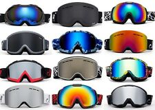 Men Women Snow Ski Winter Goggles Black  White Camo Green Anti Fog Dual Lens