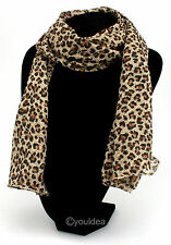 Fashion Lady's Long Soft Chiffon Leopard Scarf Wraps Shawl Stole Free Shipping