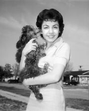 ANNETTE FUNICELLO WITH PET POODLE DOG PHOTO OR POSTER