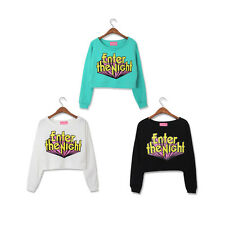 Harajuku Loose Sweater Short Paragraph 3D letters Printed collision color Blouse