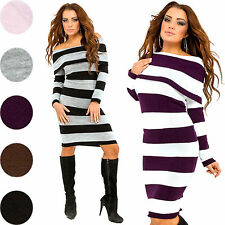 Glamour Empire Women's Striped Dress Knitted Stretch Tunic Long Jumper 419