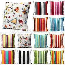 Home Decor Square Flower Throw Pillow Case Cushion Cover Pillow Case Stripe Car