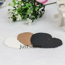 50x Sweet Heart Design Kraft Paper Wedding Bookmark Scallop Blank Luggage Tags