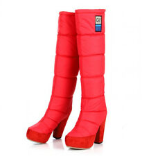 2014 women lady knee high boots warm down pull on block heels candy color winter