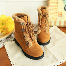 Plus Size Fashion womens winter snow boots lace-up hidden heel round toe preppy