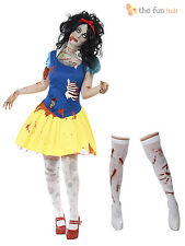 Ladies Snow Fright Costume Adult Zombie Halloween Fancy Dress Outfit + Stockings