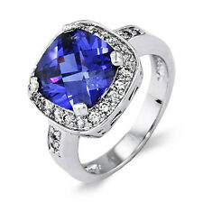 Stunning Cushion Cut Tanzanite and CZ Cocktail Ring