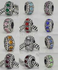 1 x Sterling Silver Charm Sparkle Birthstone Bead For European bracelet v2#ECB11