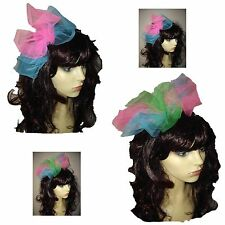 80s Alice Band, 80s Fancy Dress Hen Party, Pink,Green,Turquoise - LARGE BOW