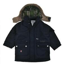 OshKosh B'gosh Boys Navy Faux Fur Hood Trim Outerwear Coat Size 4 5/6 7 $70