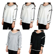 Women Loose Geometry Pullover T Shirt Long Sleeve Casaul Cotton Top Shirt Blouse