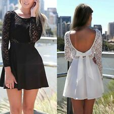 Sexy Women Long Sleeve Backless Evening Party Gown Prom Lace Mini Dress 4 Color