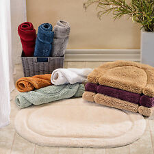 Simple Elegance Superior Collection Luxurious Cotton Non-skid Oval Bath Rug 2-pi