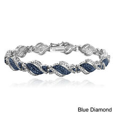 DB Designs Silvertone 1/4ct TDW Black or Blue and White Diamond Twist Bracelet (