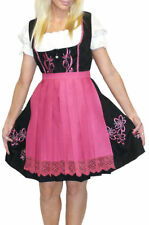 DIRNDL German Trachten Dress Oktoberfest EMBROIDERED 3 pcs SHORT BLACK Waitress