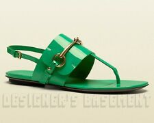 GUCCI Jasmine green Patent Leather URSULA thong HORSEBIT Buckle sandals NIB Auth