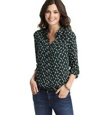 NWT ANN TAYLOR LOFT Green Collared L/S Butterfly Patch Pocket Utility Shirt $59