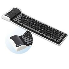 MINI BLACK FLEXIBLE ROLL-UP BLUETOOTH WIRELESS WATERPROOF KEYBOARD FOR TABLETS