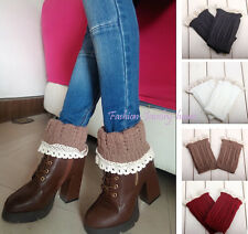 Women's Nice Crochet Knitted Lace Trim Boot Cuffs Toppers Leg Warmer Short Socks