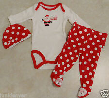 Girls Infant 3 Piece Christmas Outfit-Pants-Oncie & Hat