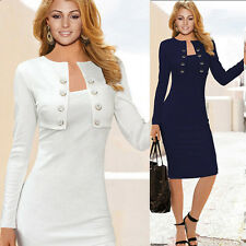 Classy Office Lady SEXY Button Front Pin Up Bodycon Long Sleeve Pencil Dress HOT