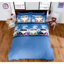 VW Camper Van Duvet Quilt Cover – Boys Navy Blue Bedding Set + Pillow Case