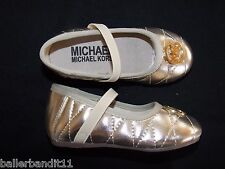 Michael Kors toddlers girls Faye shoes new ballet flats gold