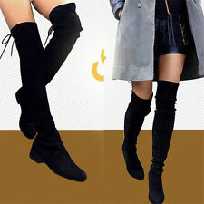 Plus Size UK3-9 Womens Ladies Goatskin Over the Knee Thigh High Flat Heel Boots