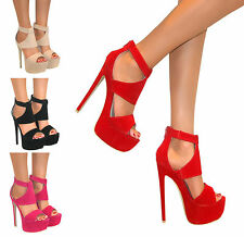 LADIES PEEP TOE PLATFORM STILETTO HIGH HEEL CUT OUT SHOE SANDAL ZIP SIZE PROM