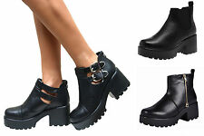 WOMENS CLEATED SOLE HIGH HEEL BLOCK PLATFORM LOW ANKLE CHELSEA BOOTS SHOES SIZE
