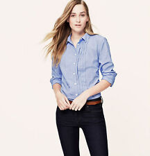 NWT ANN TAYLOR LOFT Blue Tuxedo-Inspire Softened Collared Long Slv Button Shirt