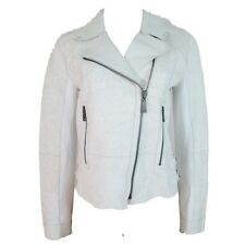 Elie Tahari Women's Cracked Lamb Leather Roxie Motorcycle Jacket White NEW $1198