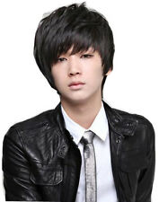 Korean Style Fashion Mens Hair Short Full Wigs Heat Resistant Fibre New Arrival