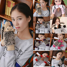 New Women Animal Cute Knit Mittens Winter Ski Outdoor Hedgehog Warm Gloves Gift