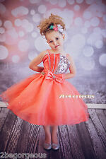 Sequined Formal Dress Wedding Bridesmaid Party Occasion Girl Kid Size 2-9y FG304