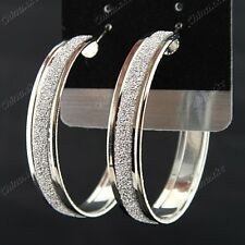 Fashion 3pairs New Silver P Frosted Women Hoop Earrings Wholesale Jewelry Lots