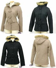 New Womens Parka Coat Toggle Button & Zipper Faux Fur Hoodie Jacket Wool Blend