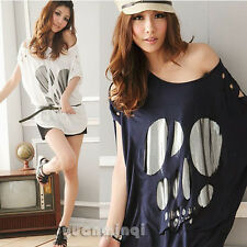 Fashion Women Batwing Sleeve Sexy Casual Loose Long Skull Top T-Shirt Tee Blouse