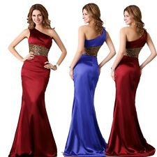 XMAS One Shoulder Sexy Womens Bridesmaid Party Ball Gown Evening Prom Long Dress