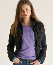 New Womens Superdry Quilted Bomber Jacket Black BFJ