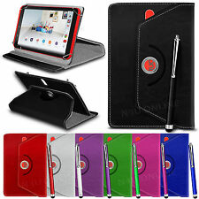 "360° Rotating Luxury PU Leather Spring Stand Case Cover & Pen for 7"" Tablets"