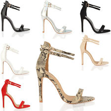NEW WOMENS LADIES STRAPPY BARELY THERE ANKLE STRAP PARTY HIGH HEEL SANDALS SIZE