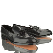 mens boys slip on black real leather upper sole welted tassel loafers shoes size