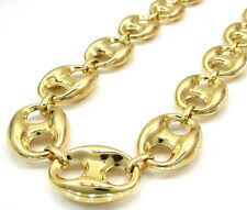 "30-36"" 19mm 10k Yellow Gold Fancy XL Mariner Anchor Mens Hip Hop Chain Necklace"