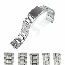 14/16/18/20/22mm Stainless Steel Strap Side Push Button Clasp Buckle Watch Band