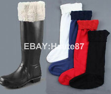 New Lady's Original Wellington Fleece Cable Knitted Liners Welly Rain Boot Socks