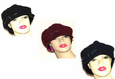 Nine West Newsboy Cap Hat Black Burgundy Navy Cabbie Hat Cap Bow Accent NEW