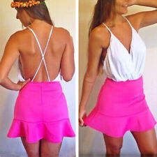 Womens Body Suit Spaghetti Strap Wrap Front Top Deep V Backless Jumpsuits Blouse