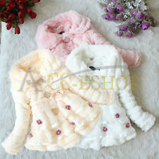 Kids Clothes Baby Girl Faux Fur Coat Pearl Outerwear Warm Winter Jacket Snowsuit